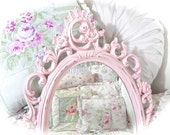 Shabby Vintage Baroque Ornate Rose Petal Pink Oval Wall Accent Scrolled Floral Carved Fancy Posh Princess Mirror Cottage Chic READY TO SHIP