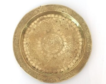Vintage Brass Etched Tray