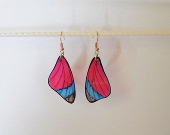 Handcrafted Butterfly wing earrings Jewelry Insect Red and Blue Dangle Drop Fish Hook 14k sterling silver hypoallergenic Hand Painted