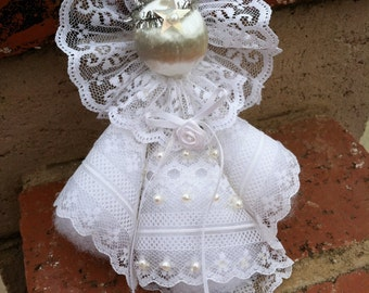 """Vintage """"ANGEL IN LACE""""  Handmade Christmas Tree Ornament"""