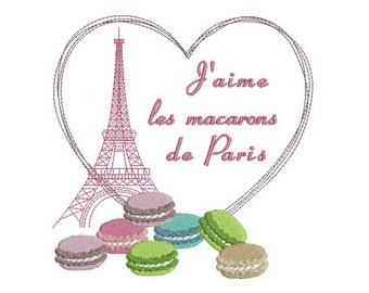 Embroidery design machine Eiffel Tower Paris heart macaroon instant download.