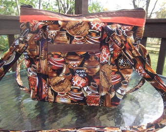 Painted Pots Machine Quilted Purse