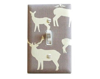 Elk Deer Light Switch Plate Cover / Baby Boy Shroom Gray White Nursery Decor / Elk Buck Family Mod Basics 2 / Birch Organic Fabric