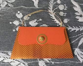 Gift Card and Money Holder in Tangerine and gold purse