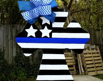 Police Officer Door Hanger, Cross Door Hanger, Law Enforcement, Blue Line, Stars and Stripes, United States of America