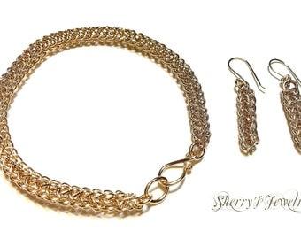 Handmade 14kt gold fill wire viking knit bracelet and earring set