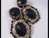 PICK SIZE  Fancy Wedding Black Gold Girly Ear Guages Dangle Plugs