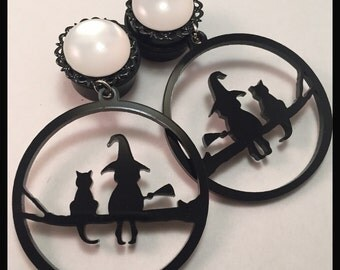 PICK SIZE Black Cat Witch Skull Acrylic Laser Cut dangle plug ear gauges Plugs