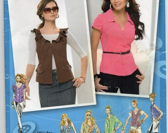 Short Sleeved Blouse Or Vest Neckline Variations Plus Size 14 16 18 20 22 Shirt Sewing Pattern 2009 Project Runway Simplicity 2633