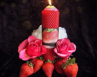 June Strawberry Moon Candle