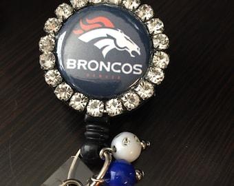 Denver Bronco football inspired Retractable Blingy ID badge holder