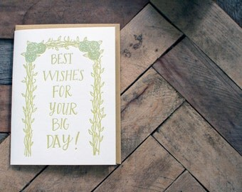Best Wishes Wedding Letterpress Card, greeting, getting married, happy marriage, big day blank card, flowers vines floral handmade letter