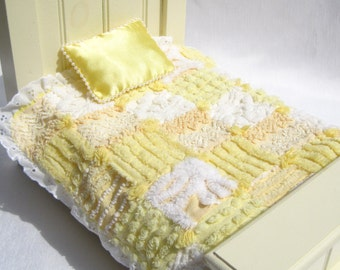 "Chenille Doll Quilt Small Doll Quilt Yellow Patchwork Quilt for 12"" Doll Doll Blanket Small Doll Blanket Doll Comforter Yellow Doll Quilt"