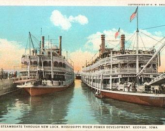 Linen Postcard, Keokuk, Iowa, First Steamboats Through New Lock, Mississippi River