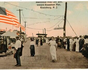 Vintage Postcard, Keansburg, New Jersey, Boardwalk Toward Steamboat Pier, 1917