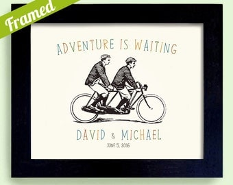 Gay Anniversary Gay Wedding Gift for Men Framed Art Personalized Wedding Gift Tandem Bicycle for Two For Gay Couples Bicycle for Two