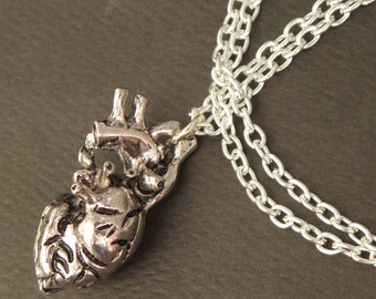Silver Anatomical Heart Necklace - Alternative Jewellery - Heart Pendant - Zombie Apocalypse - Goth Necklace Jewelry
