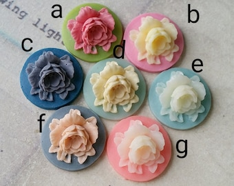 18 mm Round Rose Resin Flower Cameo of Assorted Colors (.an)(zzb)