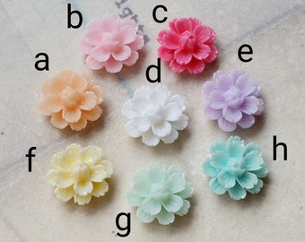 12 mm of Assorted Colour Shiny Chrysanthemum Resin Flower Cabochons (.tg)(rc)