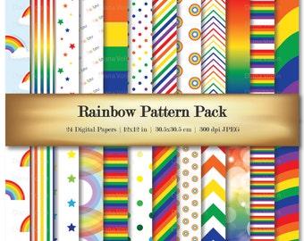Rainbow Digital Scrapbook Paper Chevron Stripe Dots Variety 24 Pack Patterns - Commercial Use OK