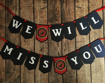 Military going away banner/ we will miss you/ Marines banner