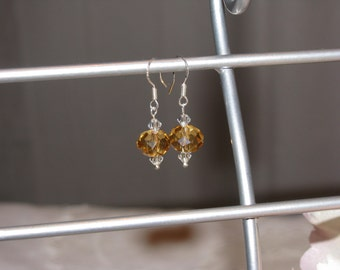 Amber Faceted Rondelle Swarovski Crystal Earrings