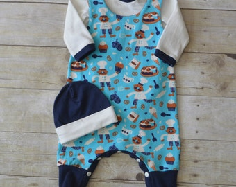 CLEARANCE - NB 3piece Baby Layette, Infant Layette, Baby Shower, Infant Style, Bakers Fabric, made by The Corduroy Hippo