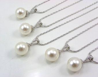 Set of 4 Bridesmaid Necklaces, 4 pearl Necklaces, pendent pearl necklace set of 4 bridesmaid Swarovski Round Pearl necklace, Bridesmaid Gift