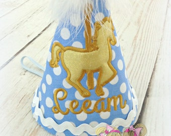 Birthday Carousel Hat- Custom Embroidered hat- Baby blue Polka dots and Gold Horse
