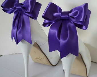 Purple Shoe Clips,  Bridal Shoe Clips, Satin Bow Shoe Clips, Wedding Shoe Clips,  Shoe Clips for Wedding Shoes, Bridal Shoes, MANY COLORS