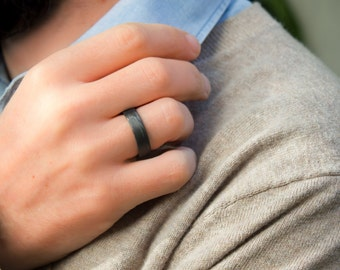 Mens Titanium And Carbon Fiber Ring Modern Industrial Black Wedding Band Water Resistant