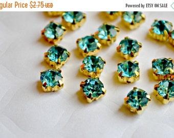 Sale 5mm Aqua Glass Sew on Rhinestones. Gold Colored Settings. QTY: 30 Pieces