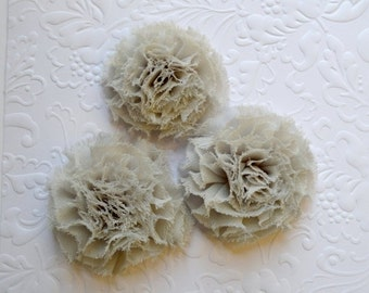 "Sale Mini Gray Puff Flowers. Mini Gray Chiffon Flowers. Grey Flowers. 2"". QTY: 1 Flower"