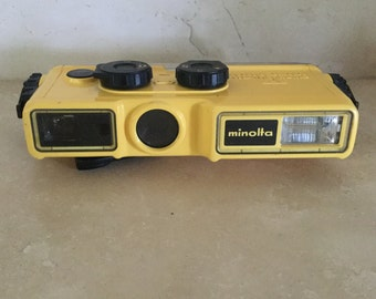 Vintage Yellow Minolta Weathermatic A Camera / Waterproof / Underwater Camera