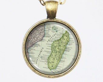 Madagascar Map Necklace - African Map Jewelry -Custom Vintage Map Series