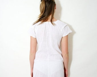 ON SALE Vintage Off White Gauze Nightgown Antique Sheer Cotton Night Slip Dress Size Small