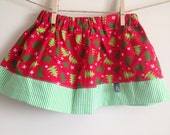 12 - 18 month Christmas Twirl Skirt : Christmas Trees on Red with a Green / white stripe accent