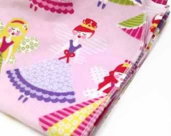 Handmade XL Flannel Receiving blanket / Swaddle blanket - Pink with flying fairy princess