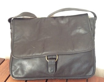 Vintage Authentic Frye Black Leather Briefcase Messenger Bag Made in Colombia