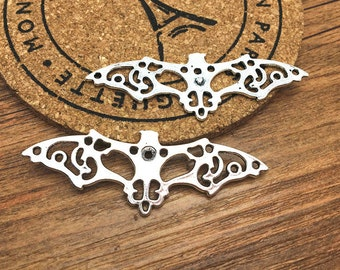 Bat Charms -12pcs Antique Silver Filigree Flying Bat Charm Pendants 23x63mm M104-4