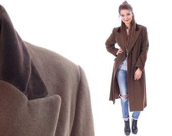 MULBERRY Coat 80s CASHMERE Tailored Authentic Mulberry Luxury Wool Midi Velvet Collar Long Minimalist Brown Double Breasted Duster Medium