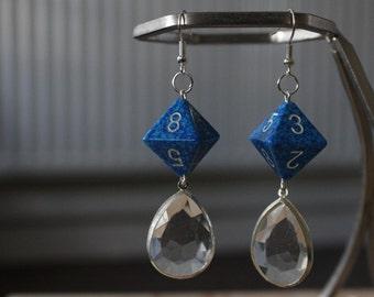 geek dice d8 blue crystal drop earrings