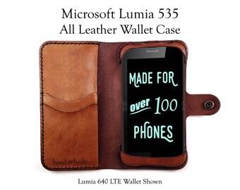 Lumia 535 Leather Wallet Case - No Plastic - Free Inscription