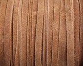 5mm Brown Flat Real Suede Lace 5mm Wide Leather - 2 Yard Increments
