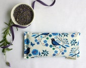 Eye Pillow, Lavender and Flax Seed Eye Pillow - Moody Blues Birds Scented Gift Relaxation Yoga Meditation