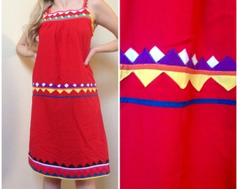 Red 70's Folklore Dress