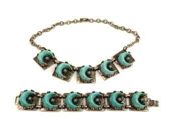 Vintage Blue Crescent Moon Demi Parure Necklace and Bracelet Set // Aqua Blue Turquoise Confetti Lucite Silvertone Metal // 1950s Moon Stars