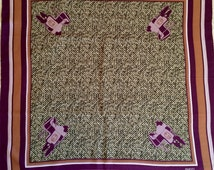 Vintage Gucci Silk Scarf - 1970s - Green Tweed with Purple Saddles - Authentic