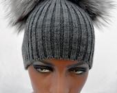 Handmade Fur Pom-Pom Hat Russian Silver Grey Fox GREY Knitted Base Beanie Women Arctic Store® FREE SHIPPING