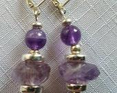 Sterling silver and genuine amethyst earrings handmade sterling silver lever backs